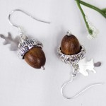 Acorn Earrings with wooden bead centre